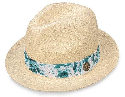 Chapéu Palha Bege Aba Curta Faixa Azul Mesclado