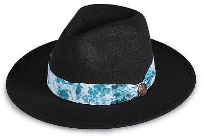 Chapéu Fedora Preto Aba 7cm Faixa Azul Mesclado