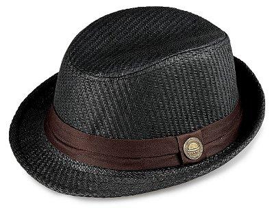 Chapéu Fedora Palha Preto Aba Curta 4cm