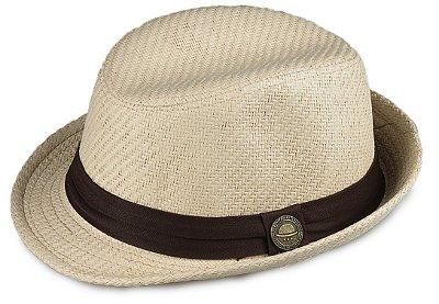 Chapéu Fedora Palha Bege Aba Curta 4cm