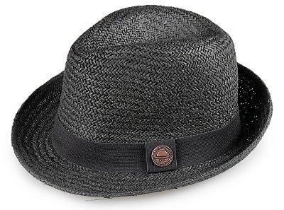 Chapéu Fedora Palha Preta Aba Média 5cm