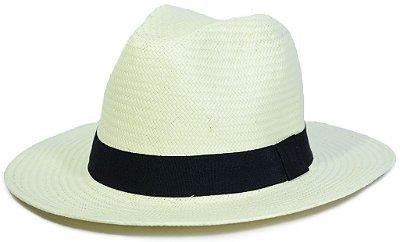 Chapéu Fedora Estilo Panamá Palha Sintética Faixa Preta