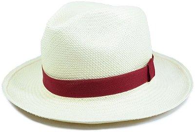 Chapéu Panamá Aba Média Faixa Vinho Customizada