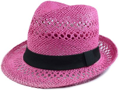 Chapéu Fedora Aba Curta Rosa Vazado