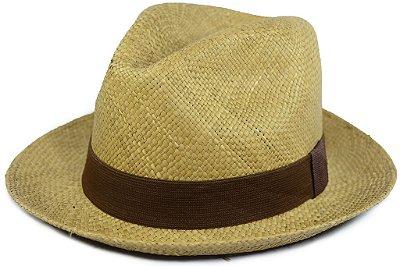 Chapéu Panamá Colorido Caramelo Aba Curta Faixa Marrom