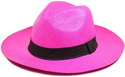 Chapéu Panamá Colorido Rosa Aba Média Feminino