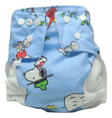 Presente para o Miguel - Fralda Ecológica - Snoopy azul
