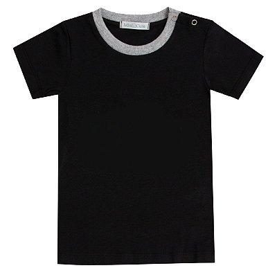 Camiseta infantil botões preto