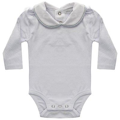 Body bebê bordado na gola azul