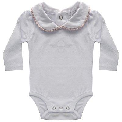 Body bebê bordado na gola rosa