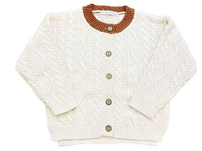 Casaco infantil abotoamento tricô