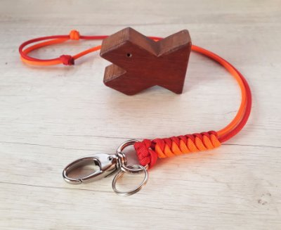 Lanyard em duas cores - vermelho e laranja neon