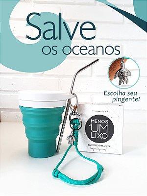 Copo Menos1Lixo Verde + Mini-lanyard Verde. GANHE um canudo inox.