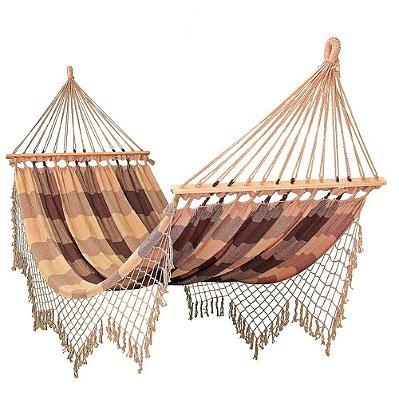 Rede De Dormir Descanso Caramelo Com Marrom Xadrez Com madeira