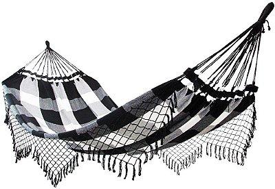 Rede De Dormir Descanso 100% Algodão Preto Com Branco Xadrez