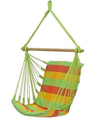 Rede Cadeira Descanso Balanço Em Algodão Colorida Com Espuma