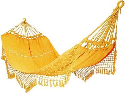 Rede De Dormir Descanso 100% Algodão Amarela