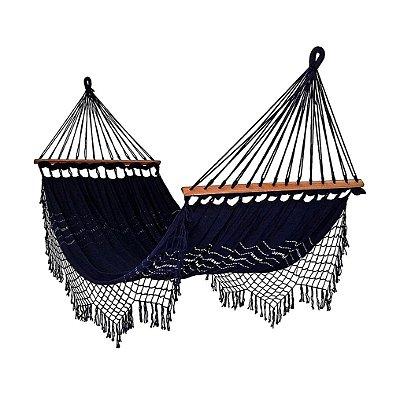 Rede De Dormir Descanso Azul Marinho Com madeira