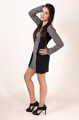 Vestido bicolor peluciado