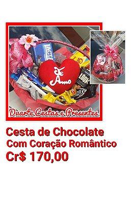 Cesta Coração de Chocolate