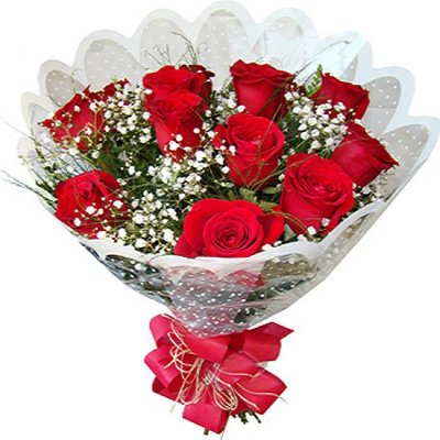 Buquê com 12 rosas