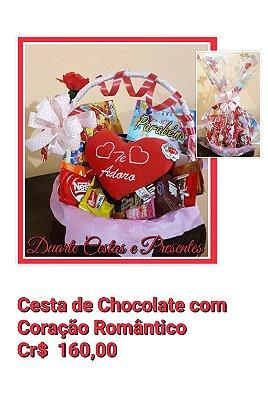 Cesta de Chocolate com Coração Romantico