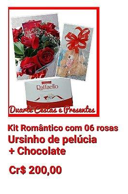 Bouquer c/06 rosas + Ursinho de pelúcia + Chocolates