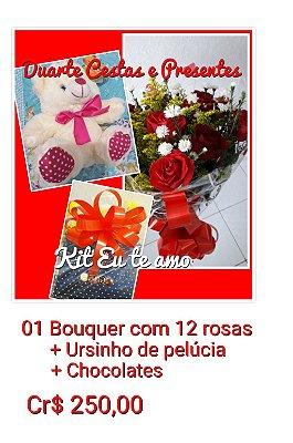Bouquer c/12 rosas + Ursinho de pelúcia + Chocolates