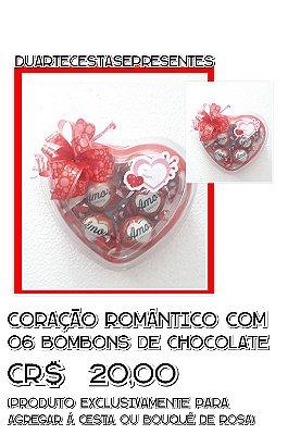 Coração Romântico com 06 bombons de Chocolate