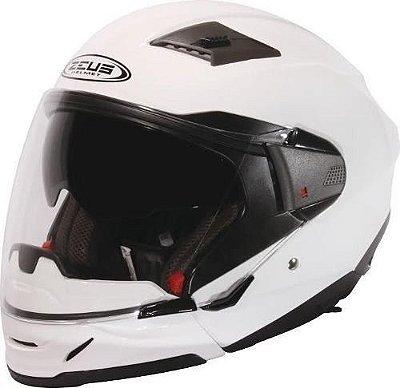 Capacete Moto Zeus 611 Logo 3D Branco Perolado Aberto e Fechado