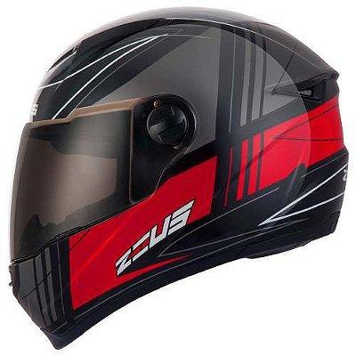 Capacete Moto Zeus 811 EVO TRIP J20 Preto Vermelho