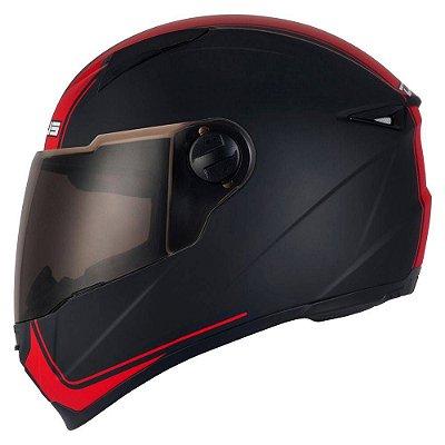 Capacete Moto Zeus 811 Matt Black EVO Touring J17 Preto e Vermelho