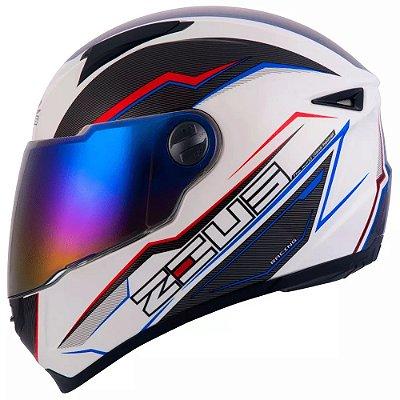 Capacete Moto Zeus 811 Evo Speed AL12 Branco e Azul