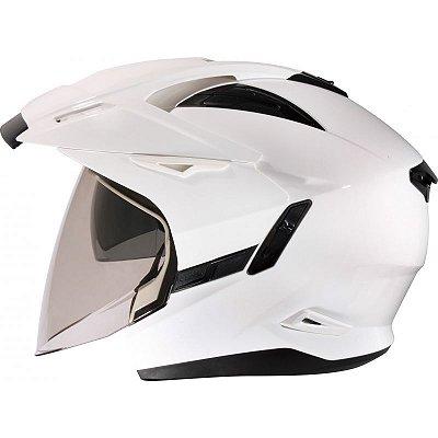Capacete Moto Zeus 613 Branco Aberto Escamoteavel Robocop