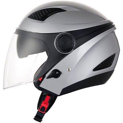 Capacete Moto Zeus 610 Aberto New City Solid Silver