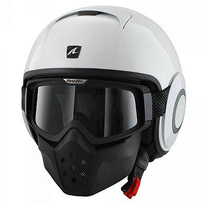 Capacete Moto com Óculos Shark Raw Blank Whu Branco