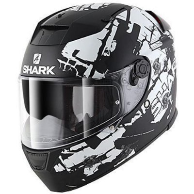 Capacete para Moto Shark Speed-R 2 Charger Ss P Kwr Preto Branco Pulse Division