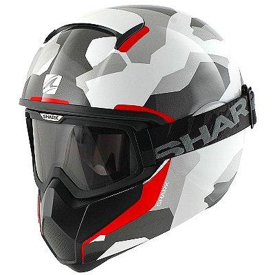 Capacete Moto com Óculos Shark Vancore Wipeout War Camuflado Cinza Branco