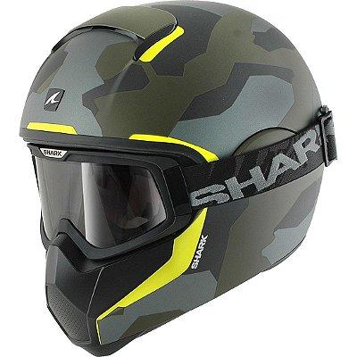 Capacete Moto com Óculos Shark Vancore Wipeout Mat GGY Camuflado Verde amarelo