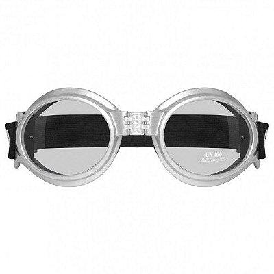 Óculos para Moto Goggles Sky Urban Style Silver Flexivel Café Racer Old Scholl Vintage