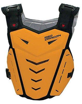 Colete para Motocross Red Dragon Attack com Protetor de Coluna Laranja Neon