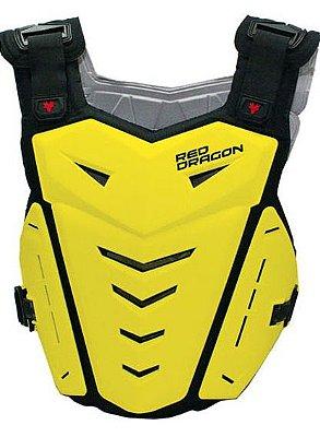 Colete para Motocross Red Dragon Attack com Protetor de Coluna Amarelo Neon