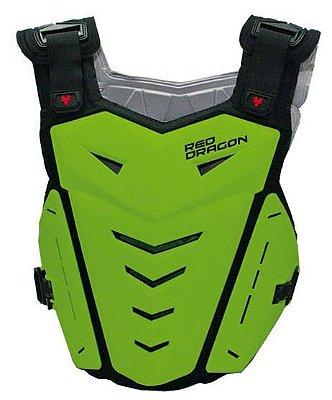 Colete para Motocross Red Dragon Attack com Protetor de Coluna Verde Neon