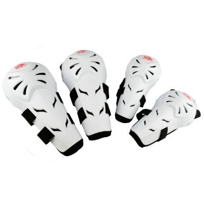 Kit Cotoveleira e Joelheira Articulada para Motos e Motocross Red Dragon Attack Branco