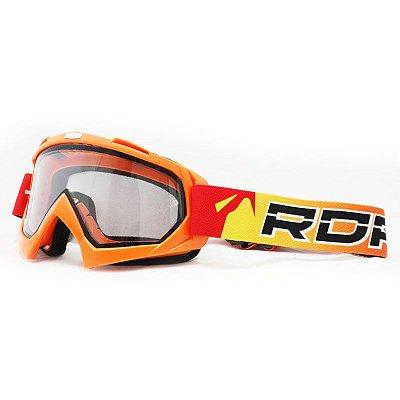 Óculos Capacete MotoCross Red Dragon YH-16 Lj1 Laranja Lente Dupla Cristal