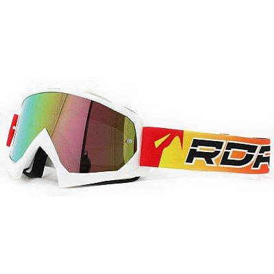 Óculos Capacete MotoCross Red Dragon YH-16 Bs1-D Branco Lente Dupla Espelhada