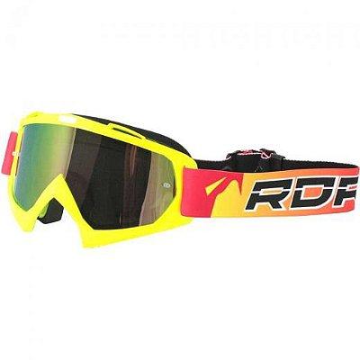 Óculos Capacete MotoCross Red Dragon YH-16FAS Amarelo Neon Lente Dupla Espelhada