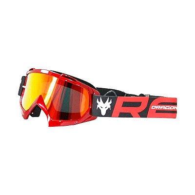 Óculos Capacete MotoCross Red Dragon YH-16VM Vermelho Metalico Lente Espelhada Vermelha
