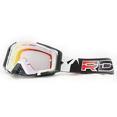 Óculos Capacete MotoCross Red Dragon EFX YH-105 BS Branco Lente Semi-Espelhada