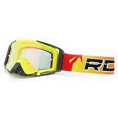 Óculos Capacete MotoCross Red Dragon EFX YH-105 AFS Amarelo Neon Lente Semi-Espelhada